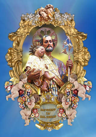 adoptive: A holy picture of Saint Joseph. Stock Photo