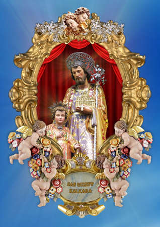 A holy picture of Saint Joseph. Stock Photo