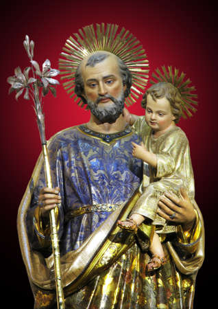 A detail of a statue of Saint Joseph at Rabat, Malta.