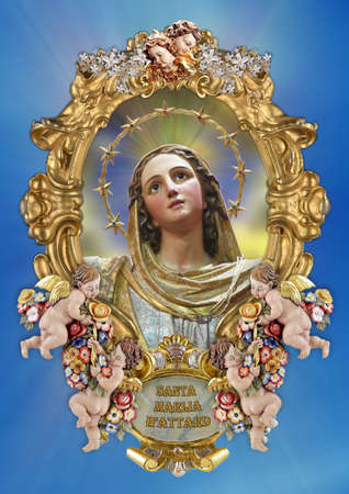 A holy picture of Saint Mary.