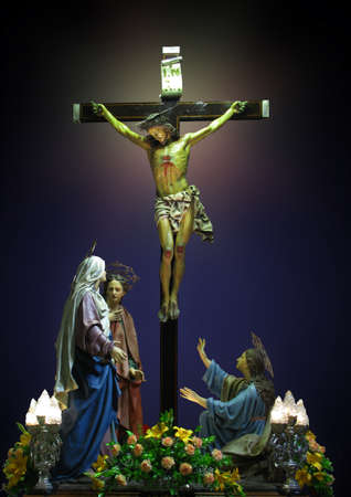 our lady of sorrows: A group of statues depicting The Crucifixion of Our Lord Jesus Christ at Cospicua, Malta.