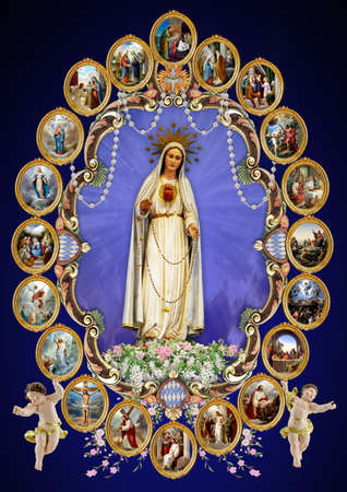 pilgrimage: The statue of Our Lady of Fatima at Gwardamangia, Malta surrounded by all of the Mysteries of the Holy Rosary.
