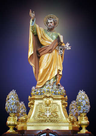 saint peter: The statue of Saint Peter at Birzebbuga Malta. Stock Photo