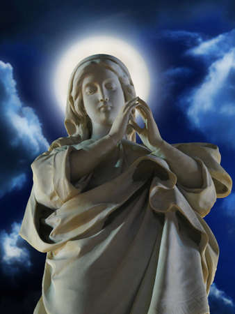 conception: A marble statue of The Immaculate Conception at Cospicua, Malta.