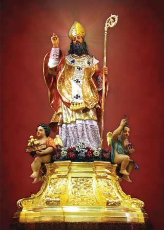 nicholas: A statue of Saint Nicholas in Siggiewi, Malta. Stock Photo