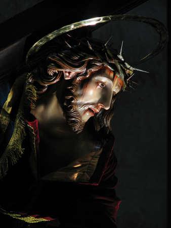 redemption: A detail of a statue of Jesus when He fell under the cross.