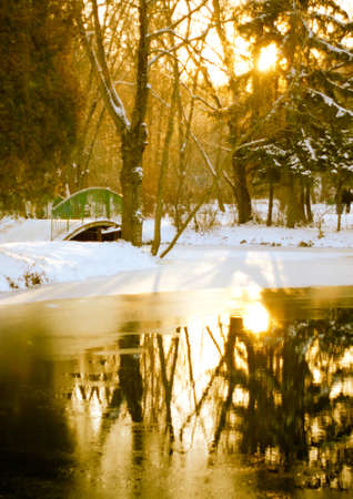 Winter scene of a lake,,  forest and sunset photo