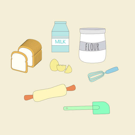 baking ingredients and tools vector ilustration Vettoriali