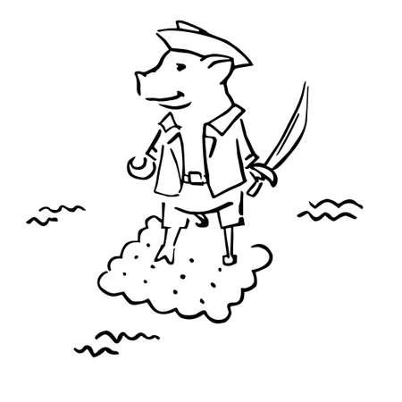 funny costumed pig corsair with cutlass and hook Ilustração