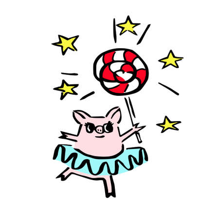 costumed pig with magic candy for avatar, stickers and logo