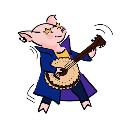 funny vector cartoon rockstar pig with guitar for avatar, logo, sticker, stamp