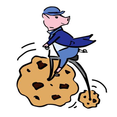 Xmas vector pig gentleman festive illustration for cards Ilustração