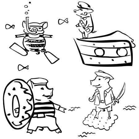 funny costumed mariner black and white pigs. New Year 2019 set cartoon hand drawen piglets for greetings cards, stickers, logo, stamps and websites