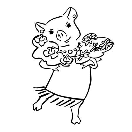 anthropomorphic black and wite pig with posy Illustration