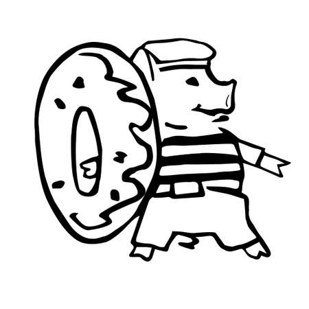 funny costumed sailor pig with doughnut lafe saver Vectores