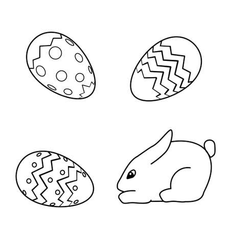 black and white rabbit icon poster. Coloring book page for adults and kids. Easter themed vector illustration for gift card, flyer, certificate or banner, icon, logo, patch, sticker Illustration