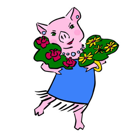 anthropomorphic color pig with posy Illustration