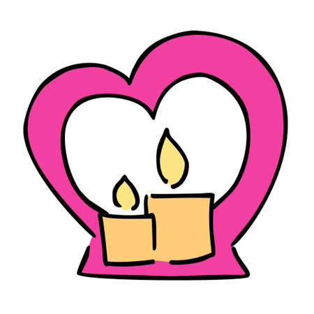Candle and candl holder valentines day vector illustration