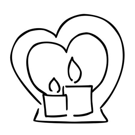 Candle and candl holder valentines day vector doodle illustration