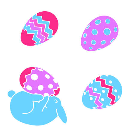 vector funny Easter bunny rabbit and Easter eggs Illustration