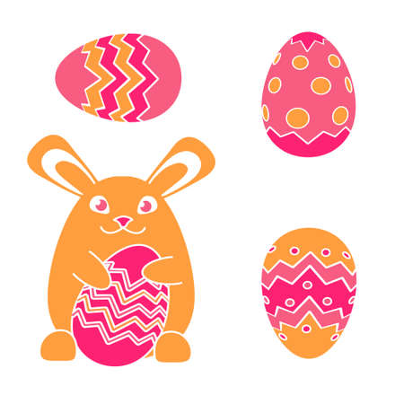 vector funny Easter bunny rabbit and Easter egg