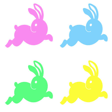 Easter themed color rabbit illustration for gift card certificate sticker, badge, sign, stamp, logo, label, icon