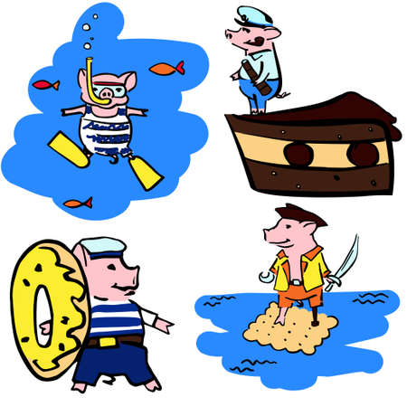 funny costumed mariner color pigs. Set cartoon hand drawen piglets for greetings cards, stickers, logo, stamps and websites Illustration