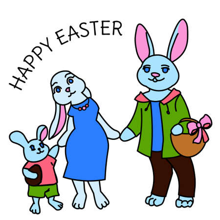 Vector illustration cute family of rabbit wearing in casual, spring summer time. Illustration