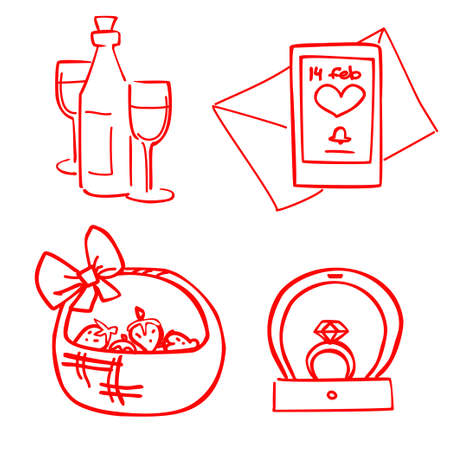vector set of valentines day dating items. Engagement ring, champagne, letter and strawberries