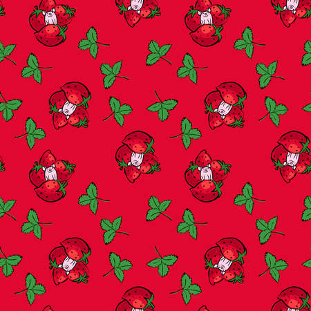 Seamless pattern cartoon happy piggie and strawberries