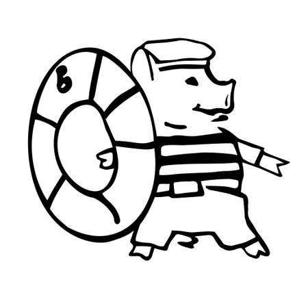 funny costumed sailor pig with life saver