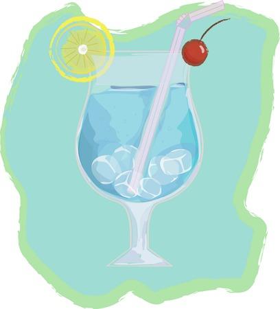 blue lagoon: cocktail di Laguna blu Vettoriali