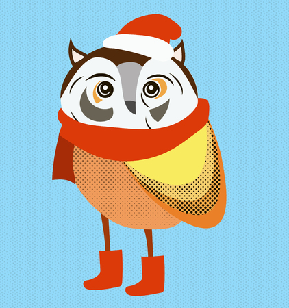 upside: Christmas owl wearing red santa hat and scarf vector illustration