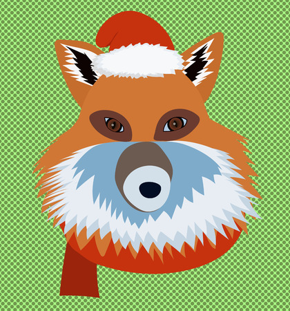Christmas fox wearing santa hat and scarf portrait