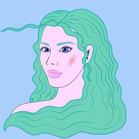 Aquarius beautiful girl vector portrait