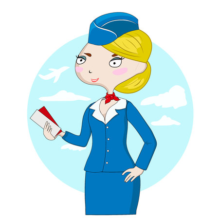 Cute cartoon stewardess at work holding airplane tickets