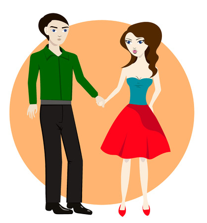 Couple in love, together holding hands, vector illustration