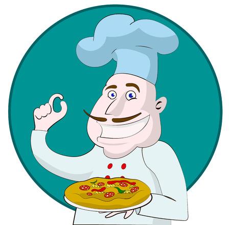 Cartoon chef holding a pizza Illustration