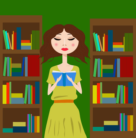 reading books: Girl in the library or bookstore reading a book