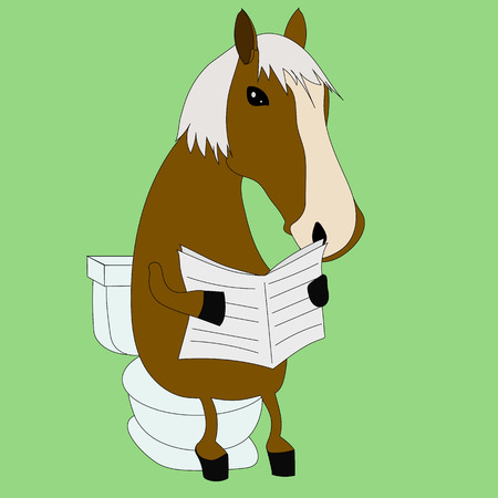 Funny horse reading a newspaper in the toilet, WC