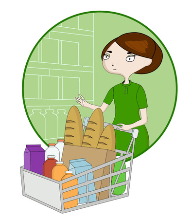 Woman cartoon with a basket in a supermarket