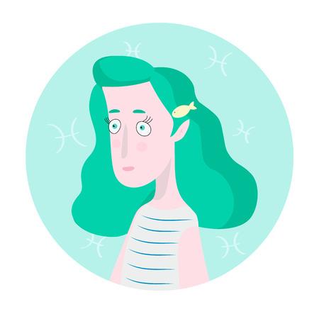 Woman cartoon portrait represntating Pisces Zodiac Sign