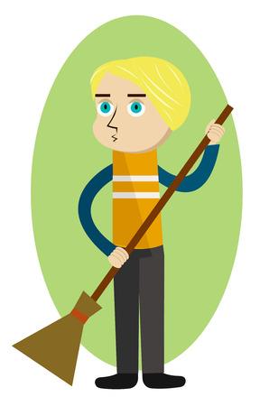 Street cleaner holding a broom Illustration