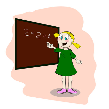 Student standing in front of a blackboard