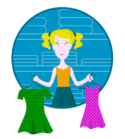 Cartoon thoughtful woman holding two neckties and trying to choose the best one at clothing store, vector illustration in the circle