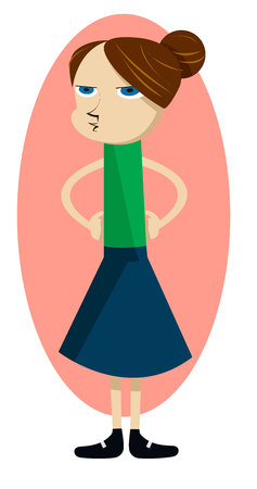 Isolated vector illustration of angry woman