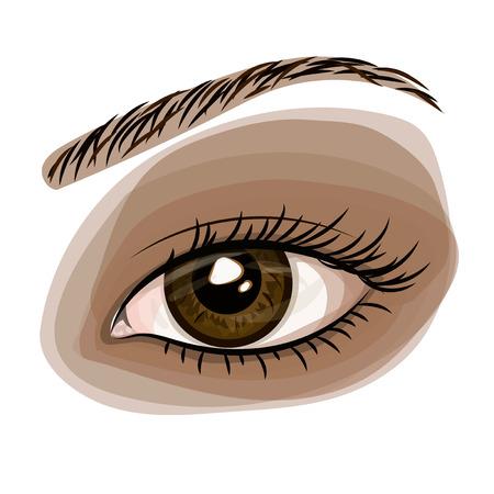 Vrouw bruin mooi oog Stock Illustratie
