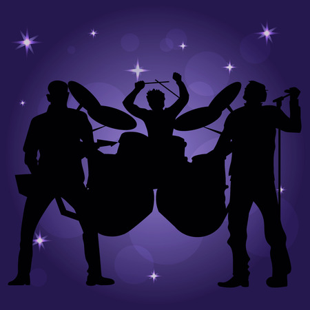 unrecognizable: Band of performing musicans Illustration