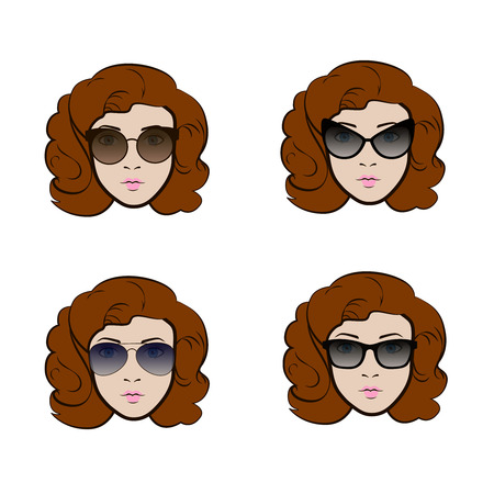 Set of different types of sunglasses presenting by cute woman