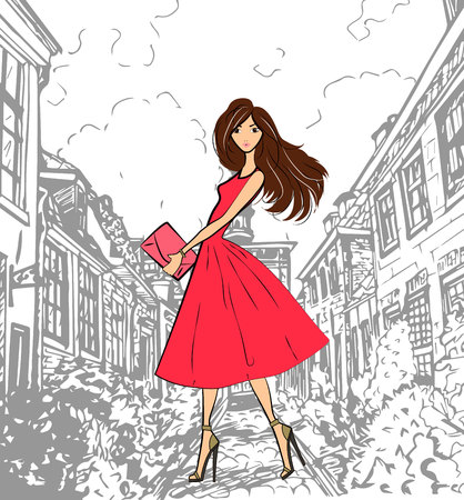 clutch: Fashionable cute girl in pink dress walking down the street
